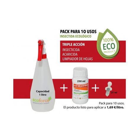 CULTIVERS Insecticida Ecológico concentrado de 250 ml. Triple Acción: Insecticida, Acaricida y Limpiador de Hojas