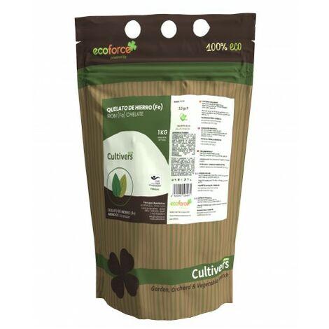 CULTIVERS Quelato de Hierro de 1 kg. Fertilizante ecológico Nutriente Fundamental para Las Plantas
