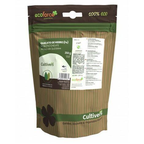 CULTIVERS Quelato de Hierro de 250 gr. Fertilizante ecológico Nutriente Fundamental para Las Plantas