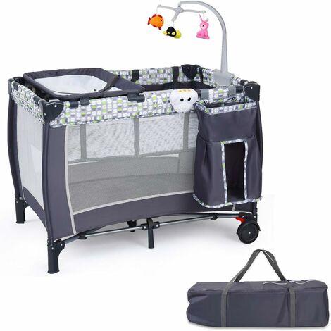 Cuna de Bebé 100 x 70 x 76cm Cama de Viaje con 2 Ruedas Cojín para Cambia Pañal Bolsa de Transporte