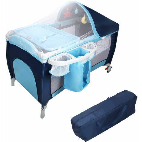 Cuna de Bebé Cama Viaje Plegable con Rueda con Colchón para Cambiador Pa?al con Función de Oscilante (Azul)