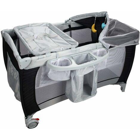 Cuna de Bebé Cama Viaje Plegable con Rueda con Colchón para Cambiador Pañal con Función de Oscilante (Negro)