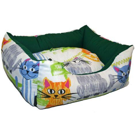 Cuna de loneta Gatos | Cama con estampado de gatos | Cuna para mascotas 60 x 50 x 20 cms