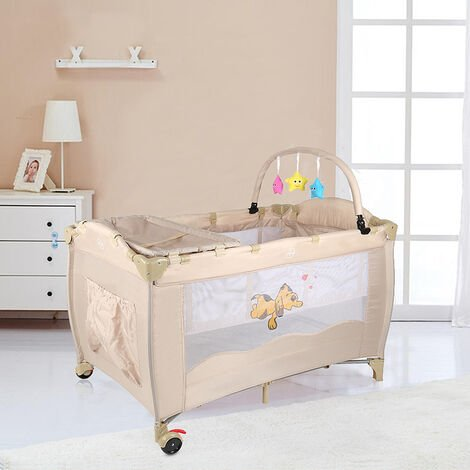 Cuna de viaje Cuna de viaje plegable - para bebé Cuna Cama | con cambiador beige