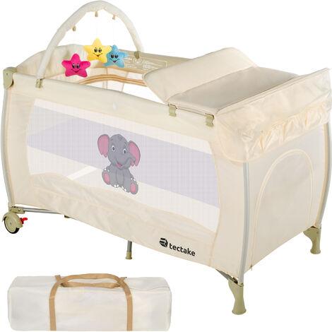 Cuna de viaje Dodo - cuna de bebé plegable para viajar, camita con mallas laterales y cambiador de pañales, cama para bebés con colchoneta y ruedas