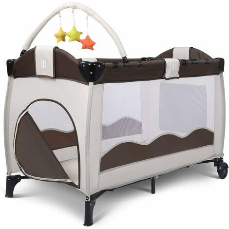 Cuna de Viaje Dos Capas Baby Playpen Bebé Cama con Colchón + Accesorios Bolas Plegable (Marrón)