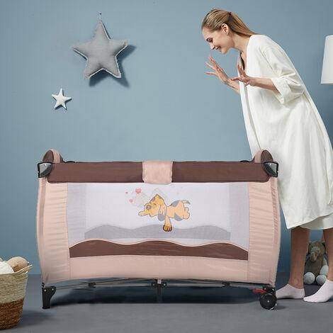 Cuna de viaje plegable con cambiador y barra antivuelco con sombrilla central marrón para bebé Cama con cambiador