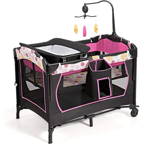 Cuna de Viaje Plegable para Bebé Cambiador Parque Infantil Cuna con 3 Juguetes, Colchón Caja de Música y Bolsa de Transporte