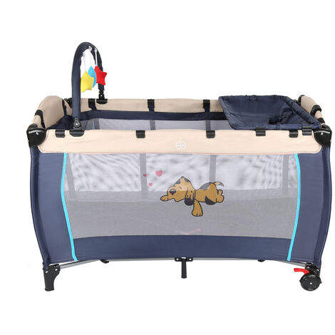 Cuna de viaje portátil para bebés – Cama infantil para viajar con dos alturas para niños bebés – altura regulable (Azul)