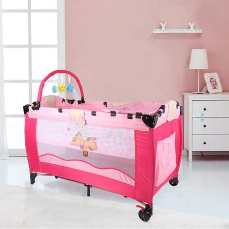 Cuna de viaje portátil para bebés – Cama infantil para viajar con dos alturas para niños bebés – altura regulable (Rojo)