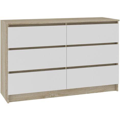 CUPID | Commode contemporaine chambre + salon + bureau 120x77x40 cm | 6 tiroirs coulissants | Dressing Chiffonier moderne | Sonoma/Blanc