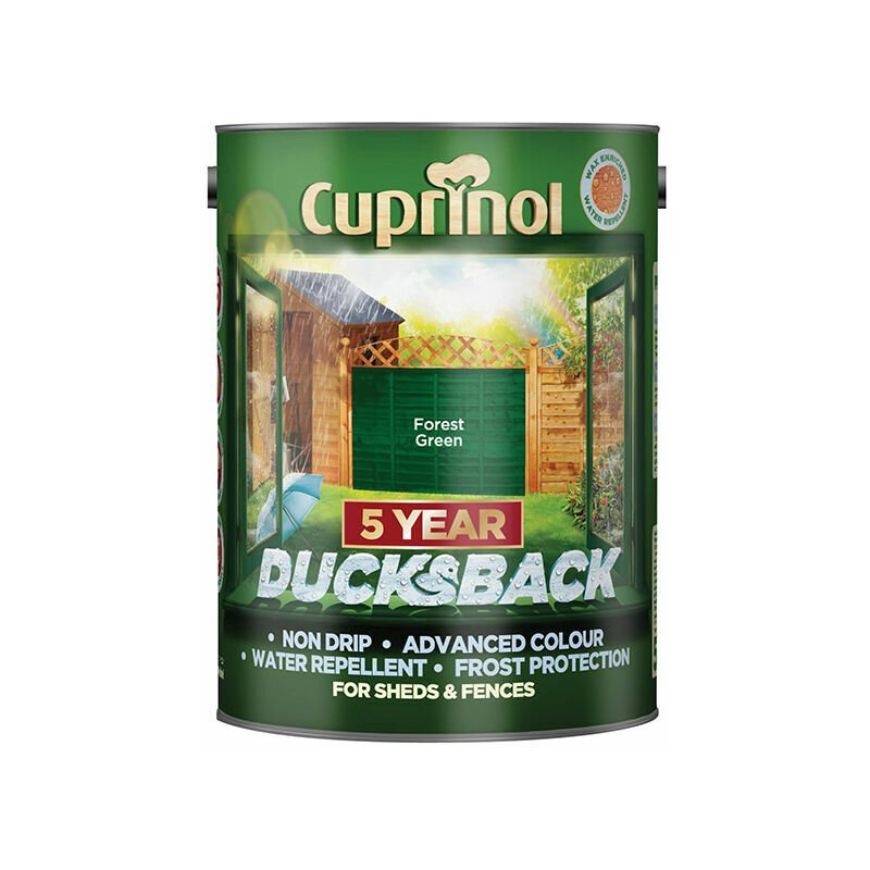 Image of 5092438 Ducksback 5 Year Waterproof for Sheds & Fences Forest Green 5 Litre - Cuprinol