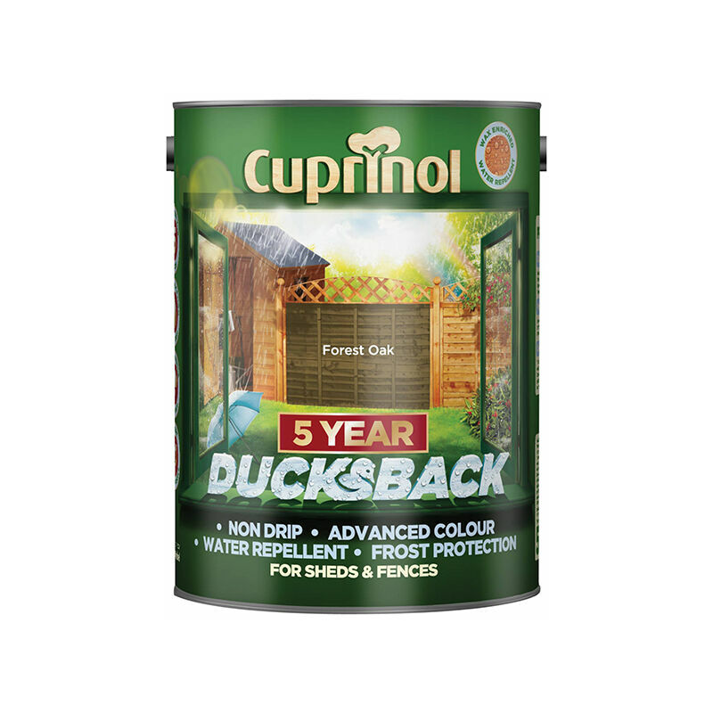 Image of 5092434 Ducksback 5 Year Waterproof for Sheds & Fences Forest Oak 5 Litre - Cuprinol