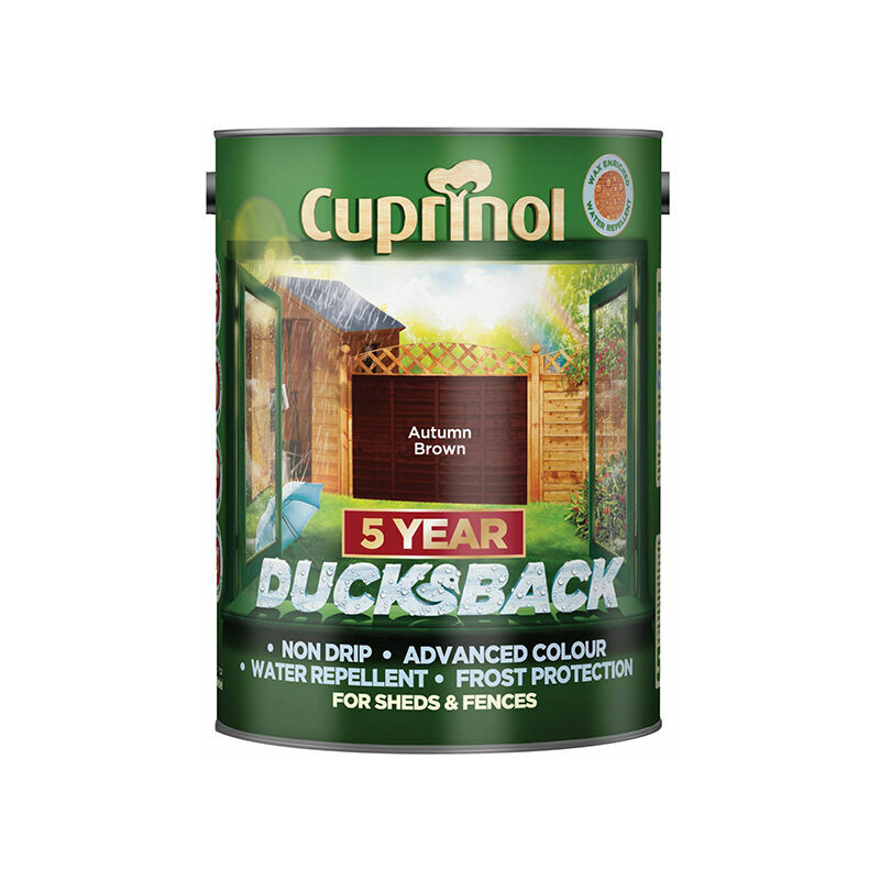 Image of 5092442 Ducksback 5 Year Waterproof for Sheds & Fences Autumn Brown 5 Litre - Cuprinol