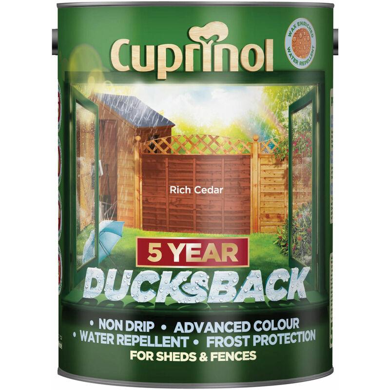 Image of 5092436 Ducksback 5 Year Waterproof for Sheds & Fences Rich Cedar 5L - Cuprinol