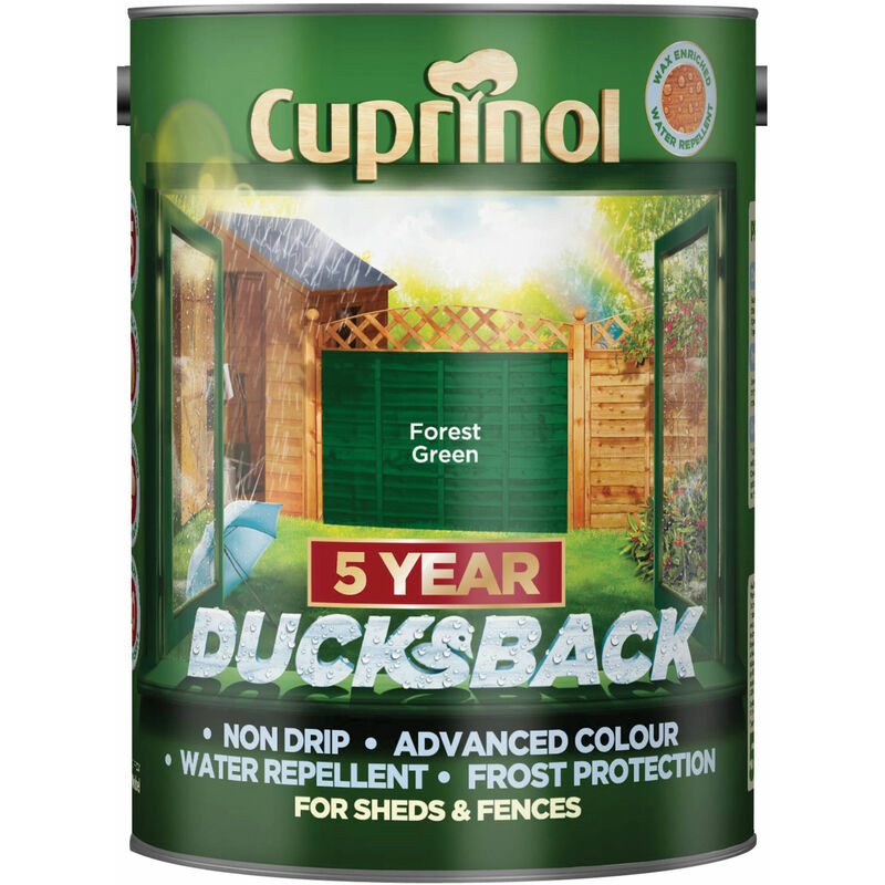 Image of 5092438 Ducksback 5 Year Waterproof for Sheds & Fences Forest Green 5L - Cuprinol