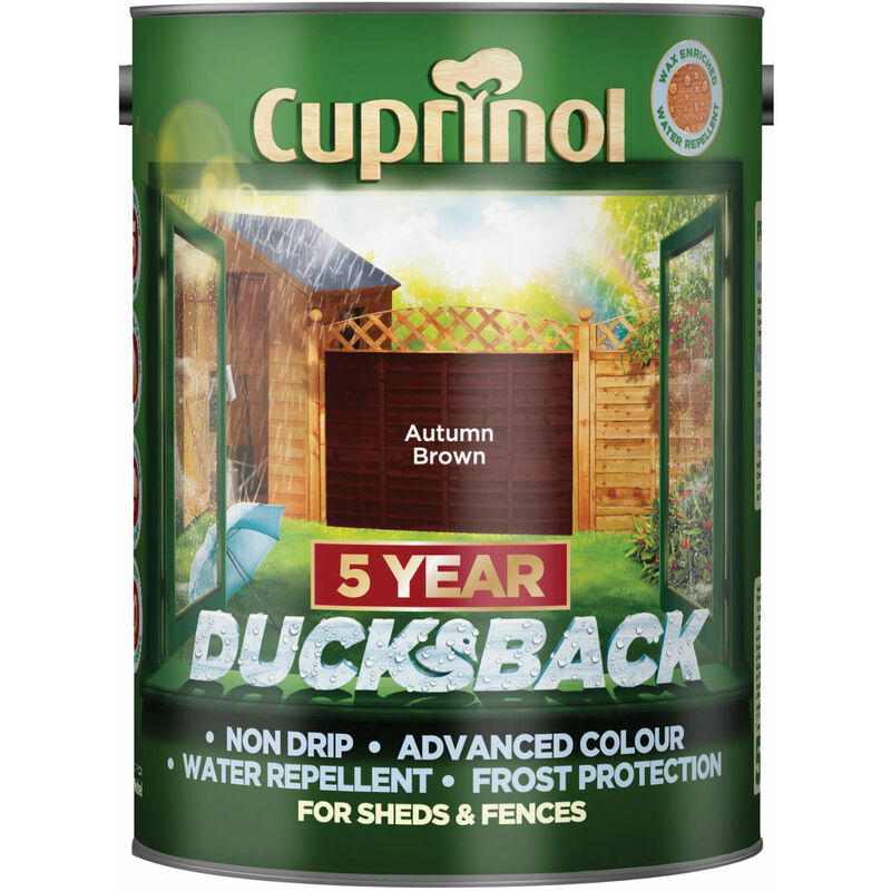 Image of 5092442 Ducksback 5 Year Waterproof for Sheds & Fences Autumn Brown 5L - Cuprinol