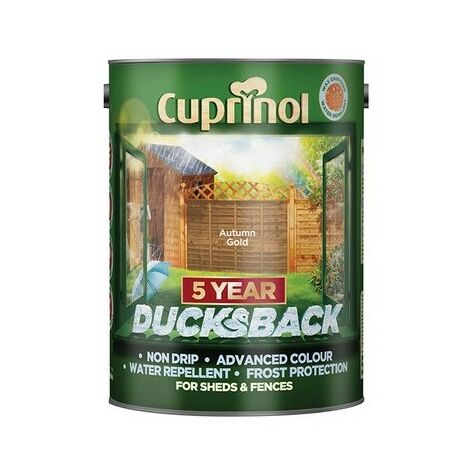 Cuprinol 5111363 Ducksback 5 Year Waterproof for Sheds & Fences Autumn Gold 5 Litre