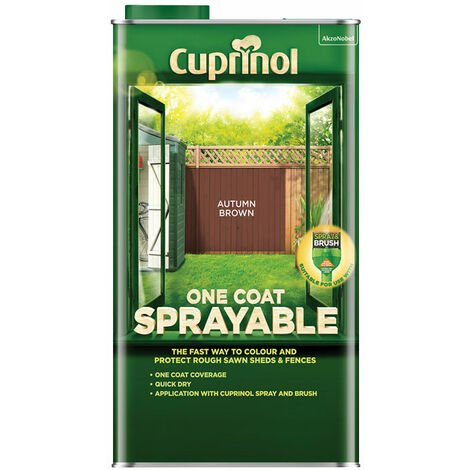 Cuprinol 5355968 One Coat Sprayable Fence Treatment Autumn Brown 5 litre