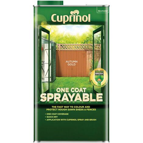 Cuprinol 5355969 One Coat Sprayable Fence Treatment Autumn Gold 5 litre