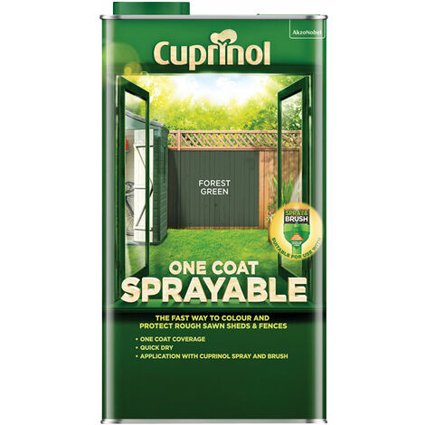 """main image of """"Cuprinol 5355971 One Coat Sprayable Fence Treatment Forest Green 5 litre"""""""