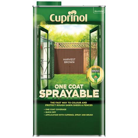Cuprinol 5355973 One Coat Sprayable Fence Treatment Harvest Brown 5 litre