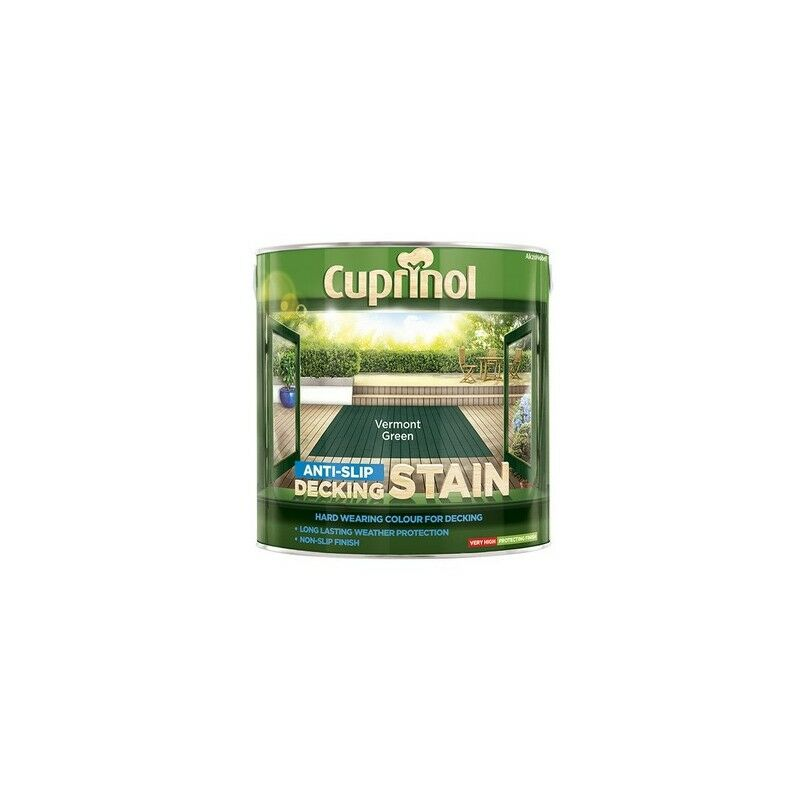 Image of 5083458 Anti Slip Decking Stain Vermont Green 2.5 Litre - Cuprinol