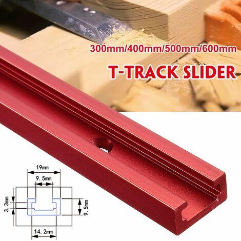 Curseur d'écrou en T-Track en alliage d'aluminium rouge 300mm outil de travail du bois bricolage (curseur de piste de type B 300mm T)