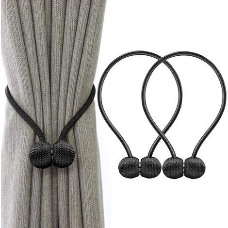 Curtain Tiebacks Magnetic Curtain Tieback Magnetic Braiding Buckle Curtains (Black)