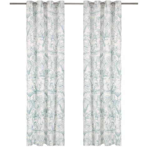 Curtains with Metal Rings 2 pcs Cotton 140x225 cm Green Floral