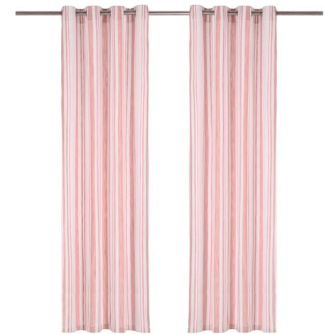 Curtains with Metal Rings 2 pcs Cotton 140x225 cm Pink Stripe