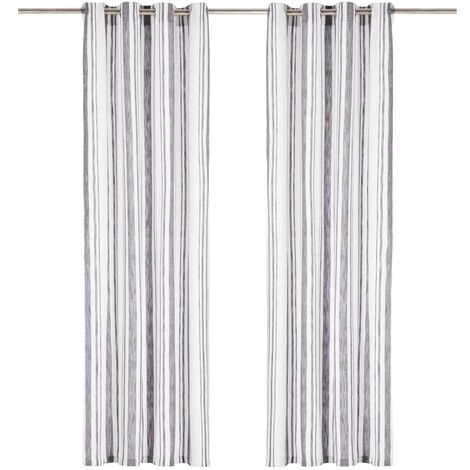 Curtains with Metal Rings 2 pcs Cotton 140x245 cm Anthracite Stripe