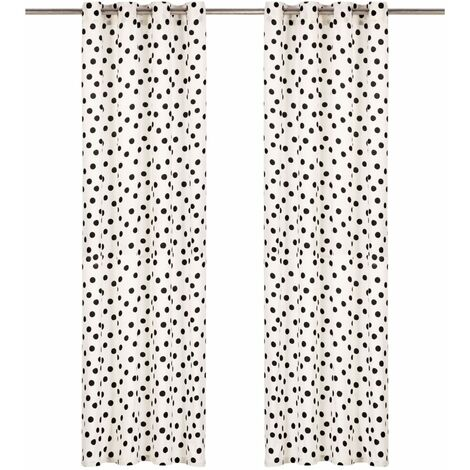 Curtains with Metal Rings 2 pcs Cotton 140x245 cm Black Dot