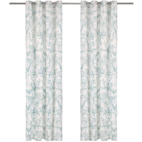 Curtains with Metal Rings 2 pcs Cotton 140x245 cm Green Floral