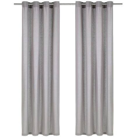 Curtains with Metal Rings 2 pcs Cotton 140x245 cm Grey