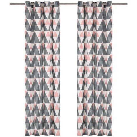 Curtains with Metal Rings 2 pcs Cotton 140x245 cm Grey and Pink
