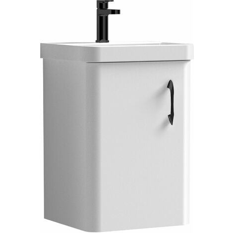 """main image of """"Curva Arc Wall Hung Vanity Unit with Black Handle - 400mm Wide - Gloss White"""""""