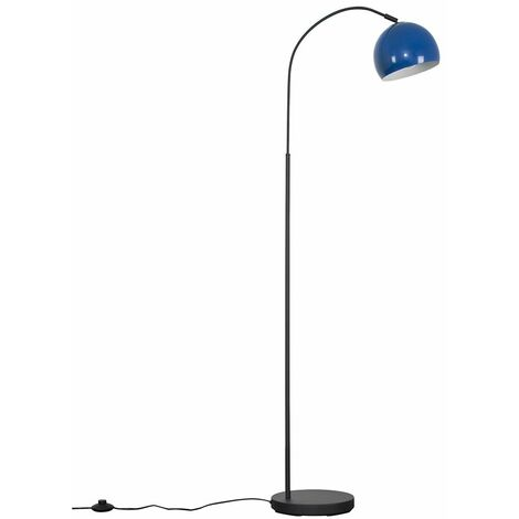 Curva Dark Grey Floor Lamp + LED Bulb - Pale Blue - Grey