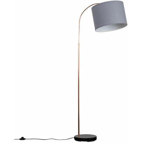 Curva Floor Lamp in Copper & Black + LED Bulb - Grey