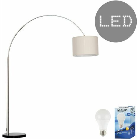 Curva Marble Floor Lamp in Black + 6W LED GLS Bulb