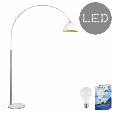 Curva Marble Floor Lamp with a & Metal Dome Shade + 6W LED GLS Bulb