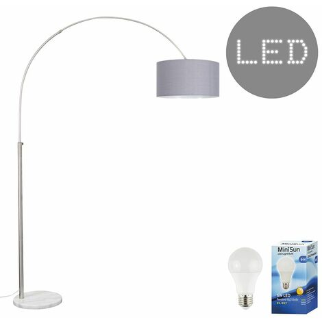 Curva Marble Floor Lamp with a & Metallic Shade + 6W LED GLS Bulb