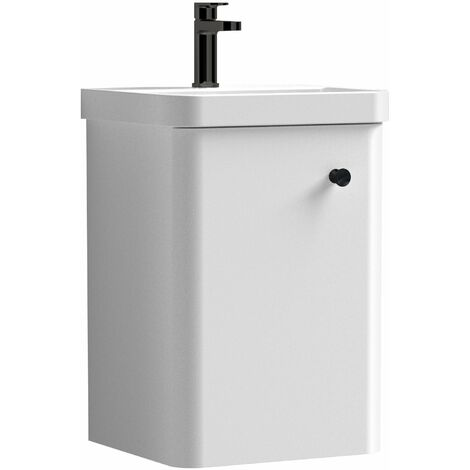 """main image of """"Curva Pure Wall Hung Vanity Unit with Black Handle - 400mm Wide - Gloss White"""""""