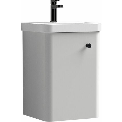 """main image of """"Curva Pure Wall Hung Vanity Unit with Black Handle - 400mm Wide - Light Grey"""""""