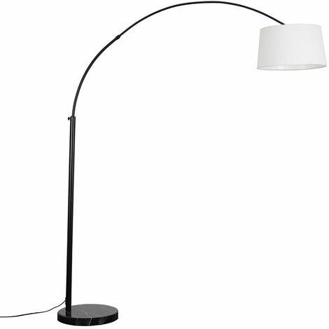 Curve Arm Floor Lamp Light Black Marble Base Fabric Lampshades LED Bulb - White