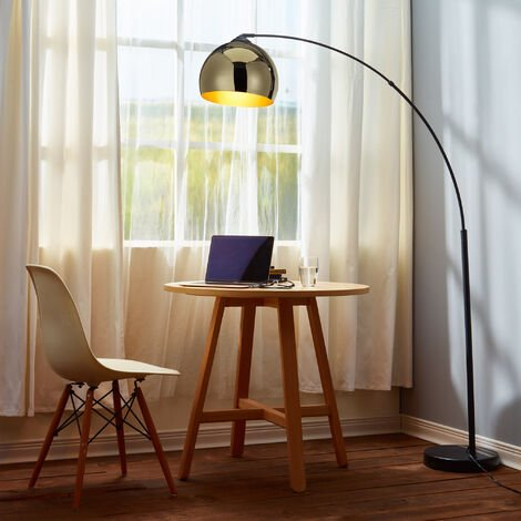 Curved Arquer Floor Lamp Gold Shade by Versanora Modern Lighting VN-L00012-UK
