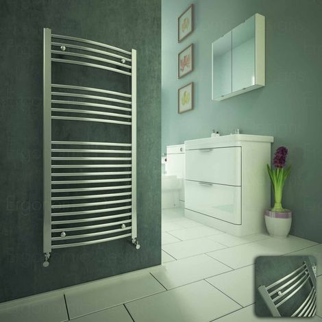 Curved Chrome Heated Bathroom Towel Rail Radiator Warmer 1100 X 500mm