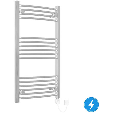 Curved Electric Heated Thermostatic Towel Rail Chrome 1000x500mm 200W