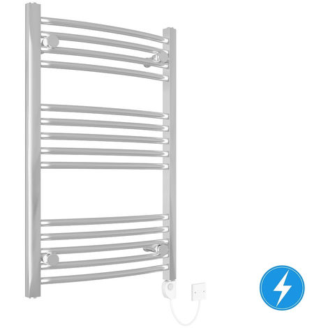 Curved Electric Heated Thermostatic Towel Rail Chrome 800x500mm 150W