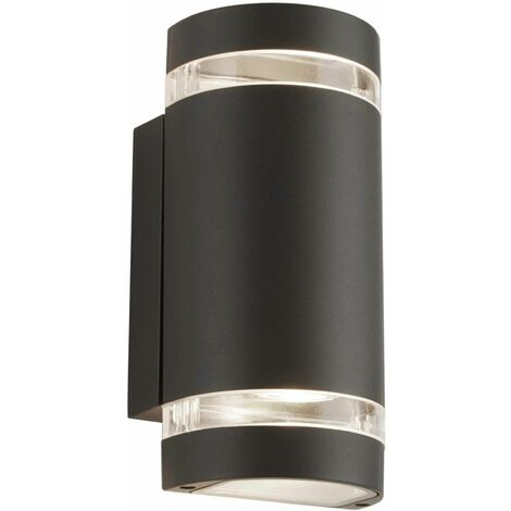 Curved exterior wall light 2 bulbs transparent gray diffuser